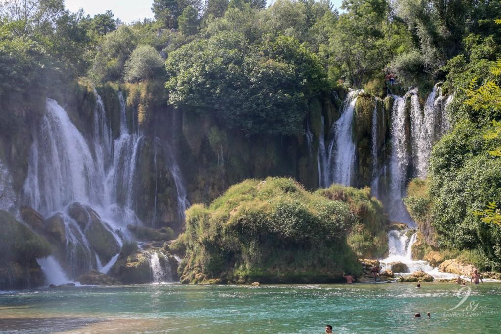 Waterfalls in summertime