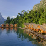 Traditional Thai bamboo bungalows floating at the Cheow Lan Lake, Khao Sok National Park, Thailand