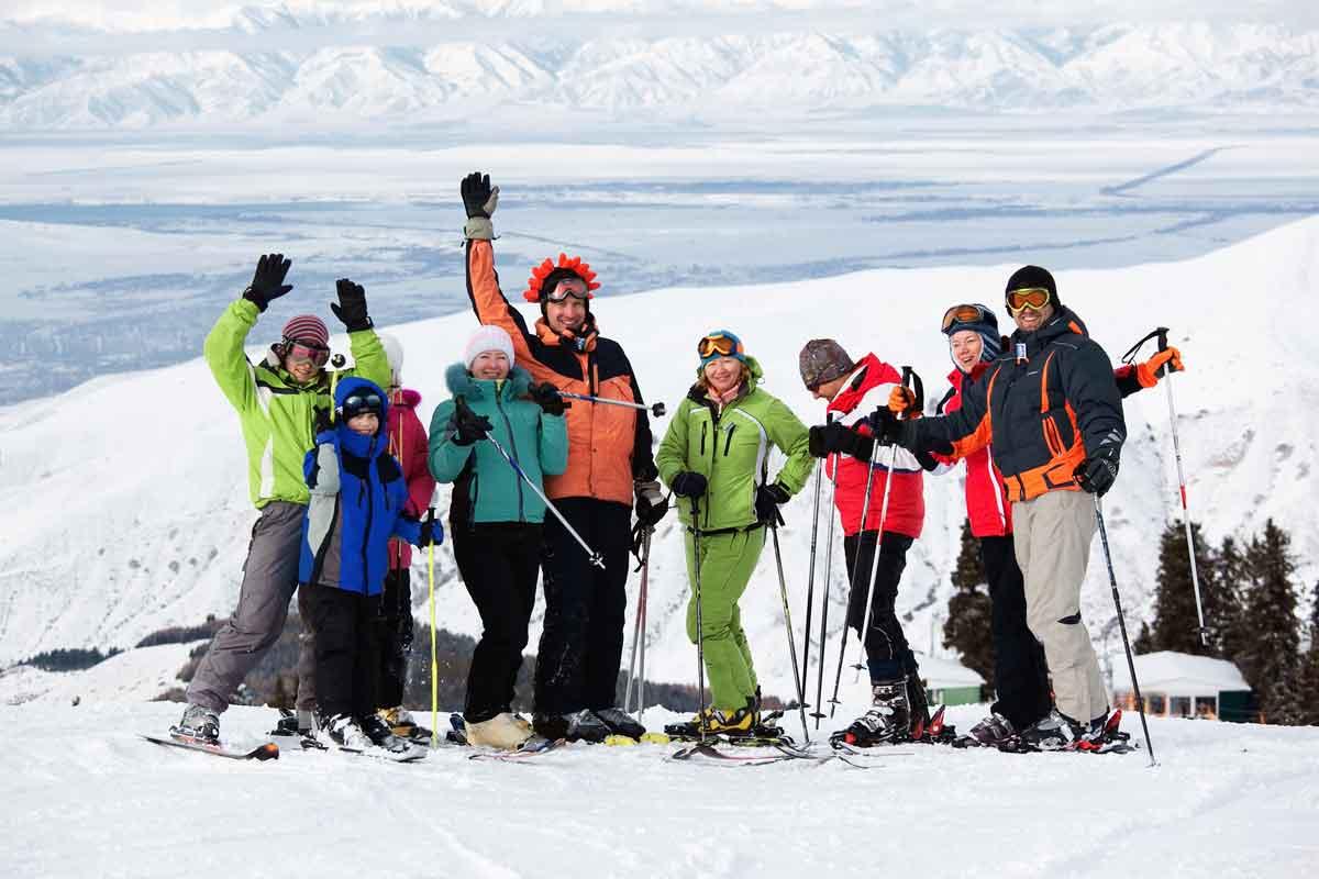 groepsfoto wintersport
